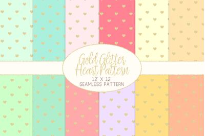 Gold Glitter Heart Pattern Digital PapersGraphic Pattern