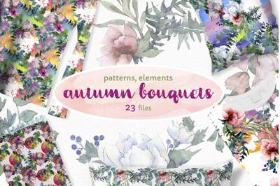 Autumn Flowers Bouquets Watercolor png