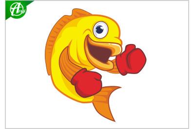 Boxing fish mascot