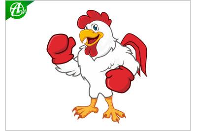 Boxing chicken mascot