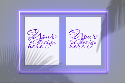 Mock up poster in a neon frame with a violet glow