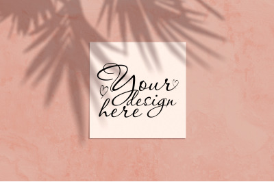 Square modern mockup with palm shadows on coral background