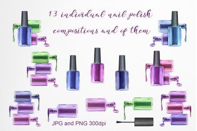 Watercolor illustrations nail polish