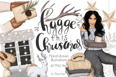 Hygge This Christmas Illustrations Clipart & Patterns