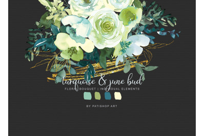 Turquoise and June Bud Watercolor Bouquet