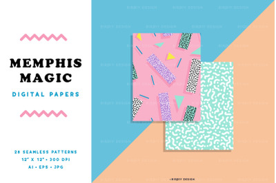 Memphis Magic 80s 90s Seamless Patterns