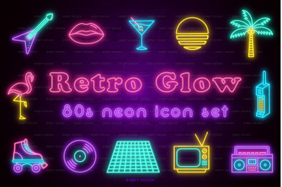 Retro Glow 80s Neon Icon Set