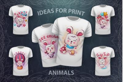 Set cute rabbit - for print t-shirt