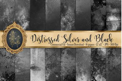 16 Distressed Metallic Silver Foil and Black Digital Papers