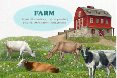 Farm. Cows clipart, Illustrations ,Clipart Farm