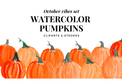 Watercolor Pumpkin Clipart, Orange Pumpkin, Harvest and Autumn