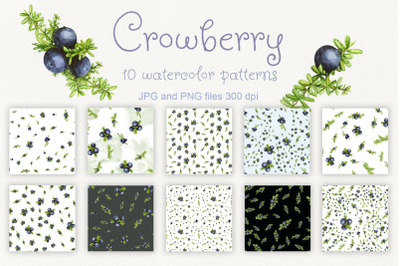 Crowberry. Set of 10 watercolor berry patterns