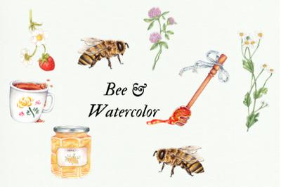 Watercolor Bee clip art, Watercolor Honey Clipart, Handpainted Honey