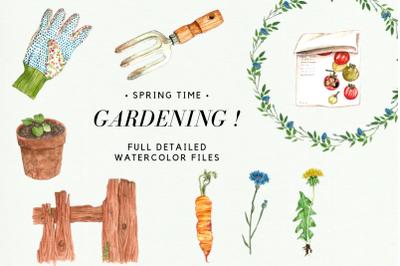 Watercolor Gardening Clipart Set, Spring Wreath, Gardening Tools, Corn