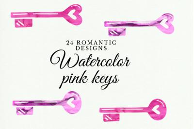 Pink watercolor keys, Watercolor Vintage Keys Clipart, Watercolor keyh