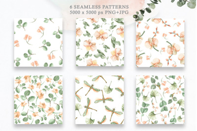 Watercolor floral patterns, prints with leaves and orchids.