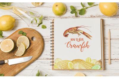 Watercolor Crawfish Cliparts
