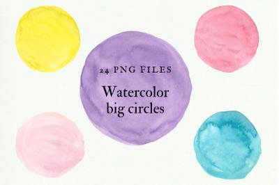 Watercolor Big Circles, Hand Painted Watercolor Circles, Watercolor Circles Clipart Set, Colorful Watercolour Circles, Dots Scrapbooking