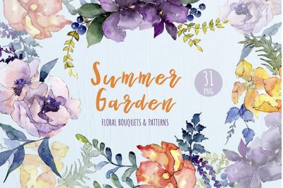 Watercolor Bouquet Summer Garden png