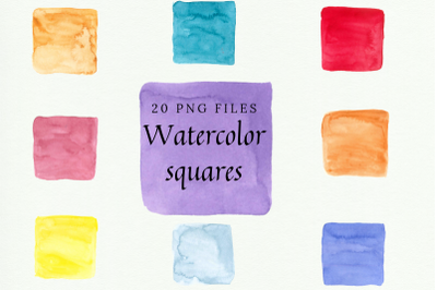 20 Hand-painted Watercolor Squares, Watercolor Colorful Squares, Water