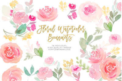Pink floral watercolor clipart, Blush Pink Floral Clipart