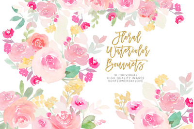 Pink and gold watercolor floral collection, watercolor flowers