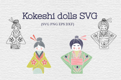 Japanese Kokeshi Dolls SVG