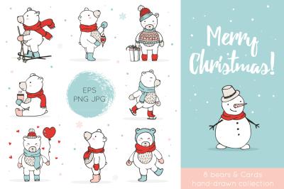 Sale! Christmas Bears Icons & Cards