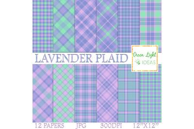 Lavender Plaid Digital Papers, Tartan Textures