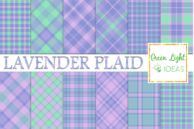 Lavender Plaid Digital Papers, Tartan Textures