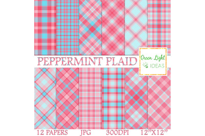 Peppermint Plaid Digital Papers, Christmas Backgrounds