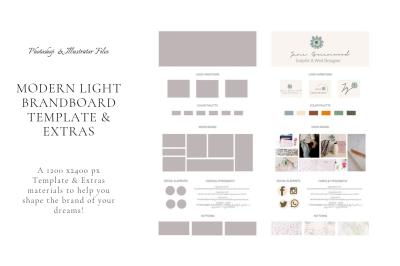 Modern Light Brand Board Template & Extras