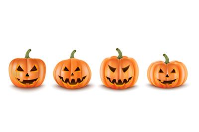 Halloween Pumpkins Set. Realistic