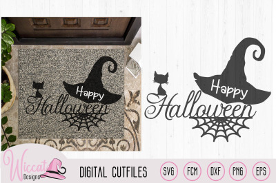 Happy halloween, doormat  quote, halloween sign svg, black cat witch h