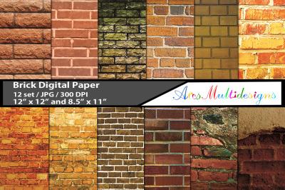 bricks pattern, brick digital papers