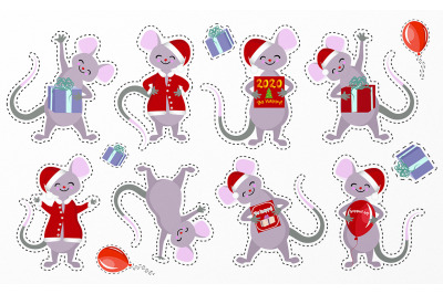 Cute vector card with cartoon kawaii mouse or rat. New Year 2020