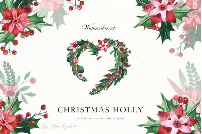 Christmas Watercolor Holly Set