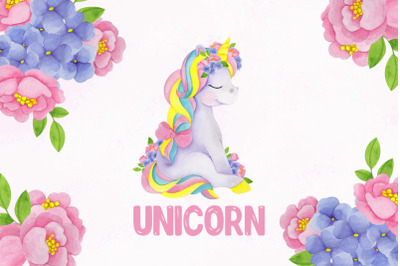 Unicorn. Cute watercolor
