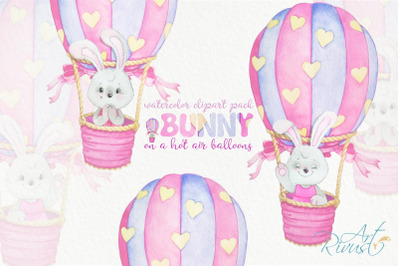 Hot air balloons clipart for girls. Instant download! Cute watercolor