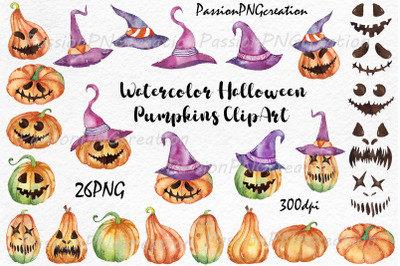 Watercolor Halloween Pumpkins clipart, Jack-o-lanterns Spooky clipart