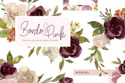 Watercolor Pink & Burgundy Flowers, Bouquets, Frames, Wreaths