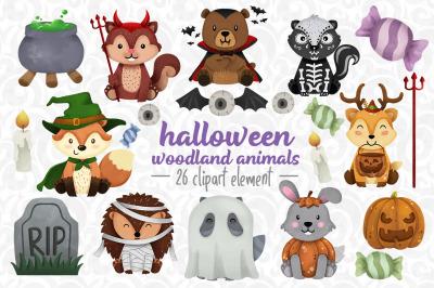Halloween Woodland animals Clipart
