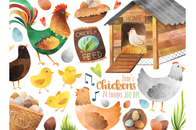 Watercolor Chickens Clipart