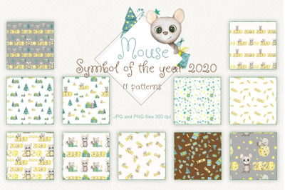 watercolor patterns symbol of the new year 2020 cute mouse