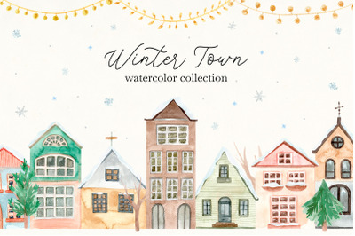 Winter Town. Watercolor Collection. Merry Christmas and Happy New Year