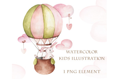 Watercolor illustration for kids of hare on balloon