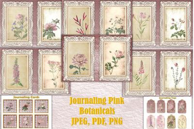 Printable Journal Kit pink botanicals PDF, JPEG PNG