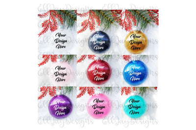 9 Glitter Ornament mock ups