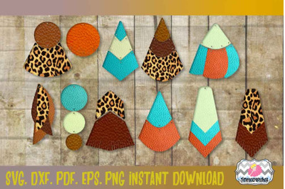 SVG, PNG, DXF Geo Earring Template Bundle, Earring Cards