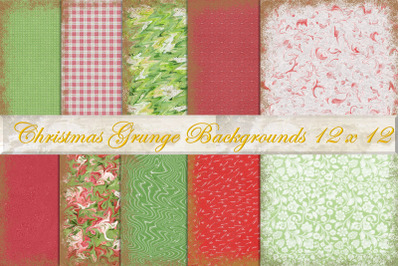 Christmas Grunge Scrapbook Backgrounds pack of 10 (12 x 12 inches)